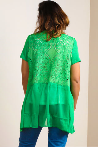 SB413 Emerald Green Crochet Mesh Open Jacket