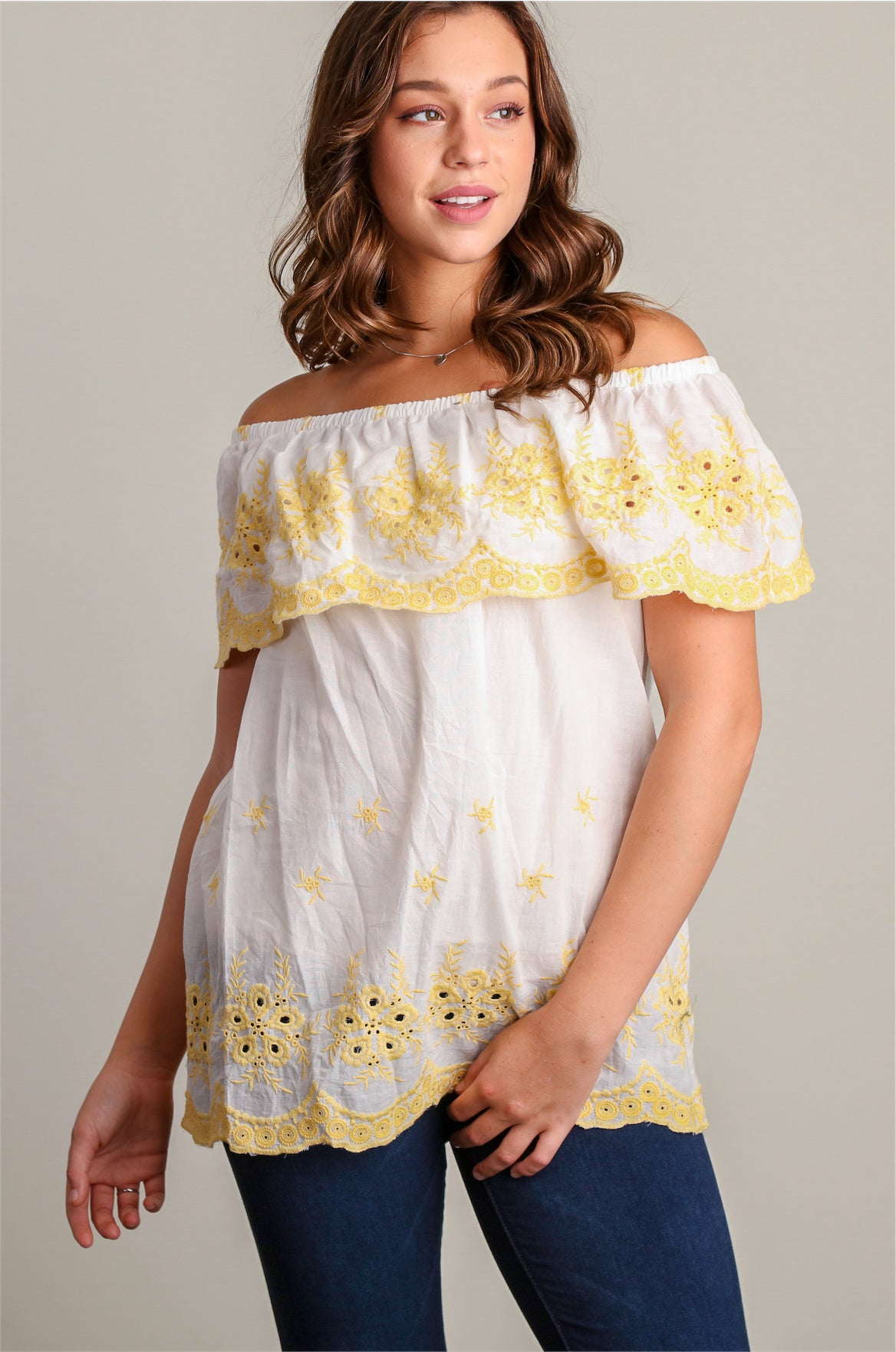 White/Yellow Eyelet Embroidery Peasant