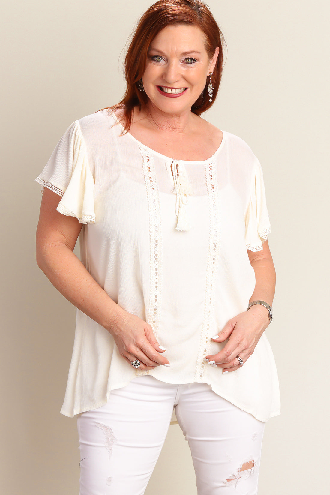 Ivory Flutter Sleeve Peasant Blouse