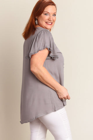 Plus Silver Flutter Sleeve Peasant Blouse