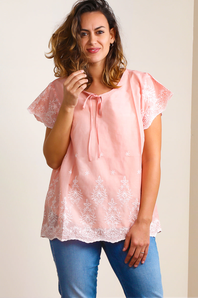 Blush Embroidered Peasant Blouse