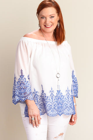 Plus White Embroidered Bell Sleeve Blouse