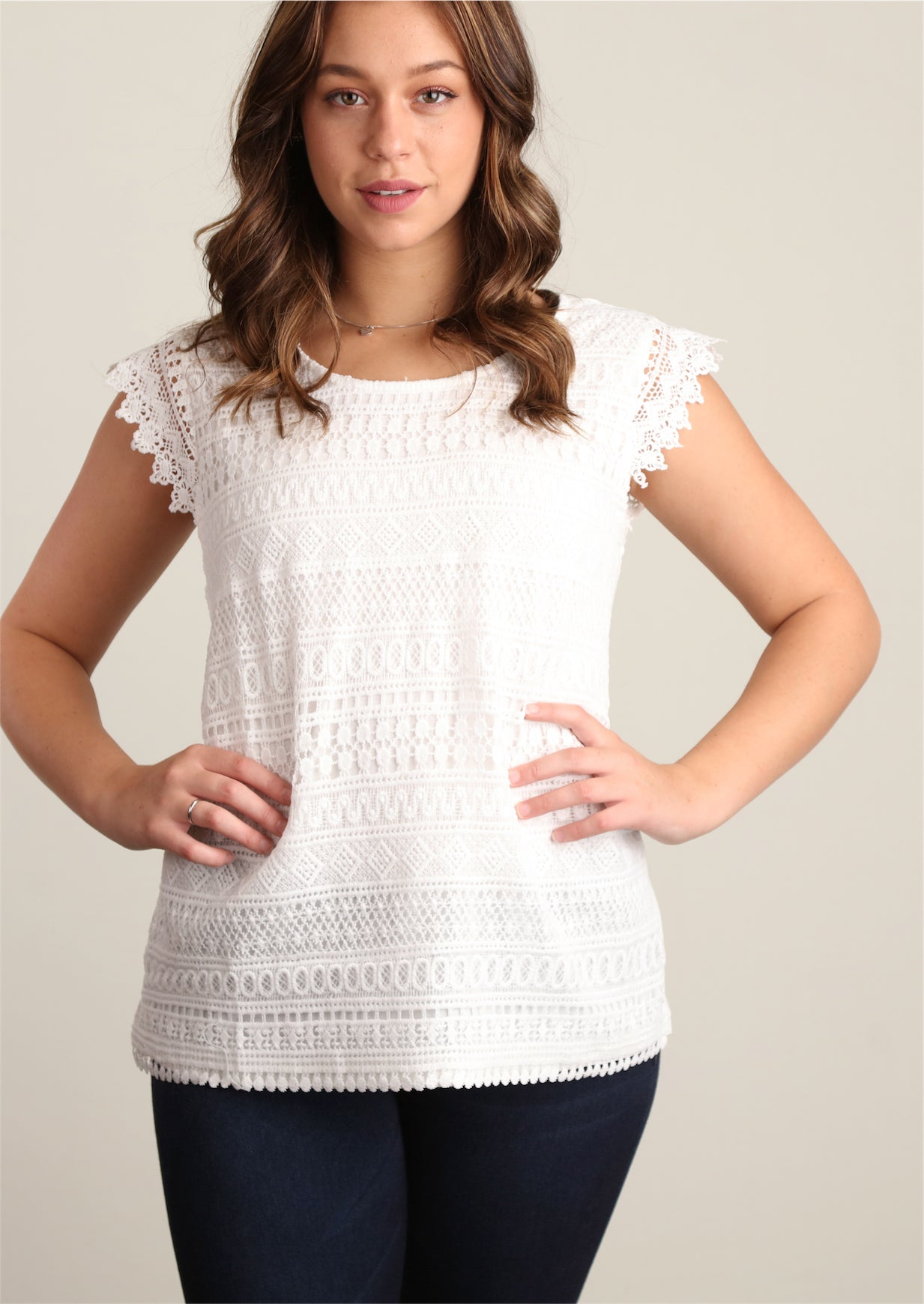 White Novelty Crochet Lined Blouse
