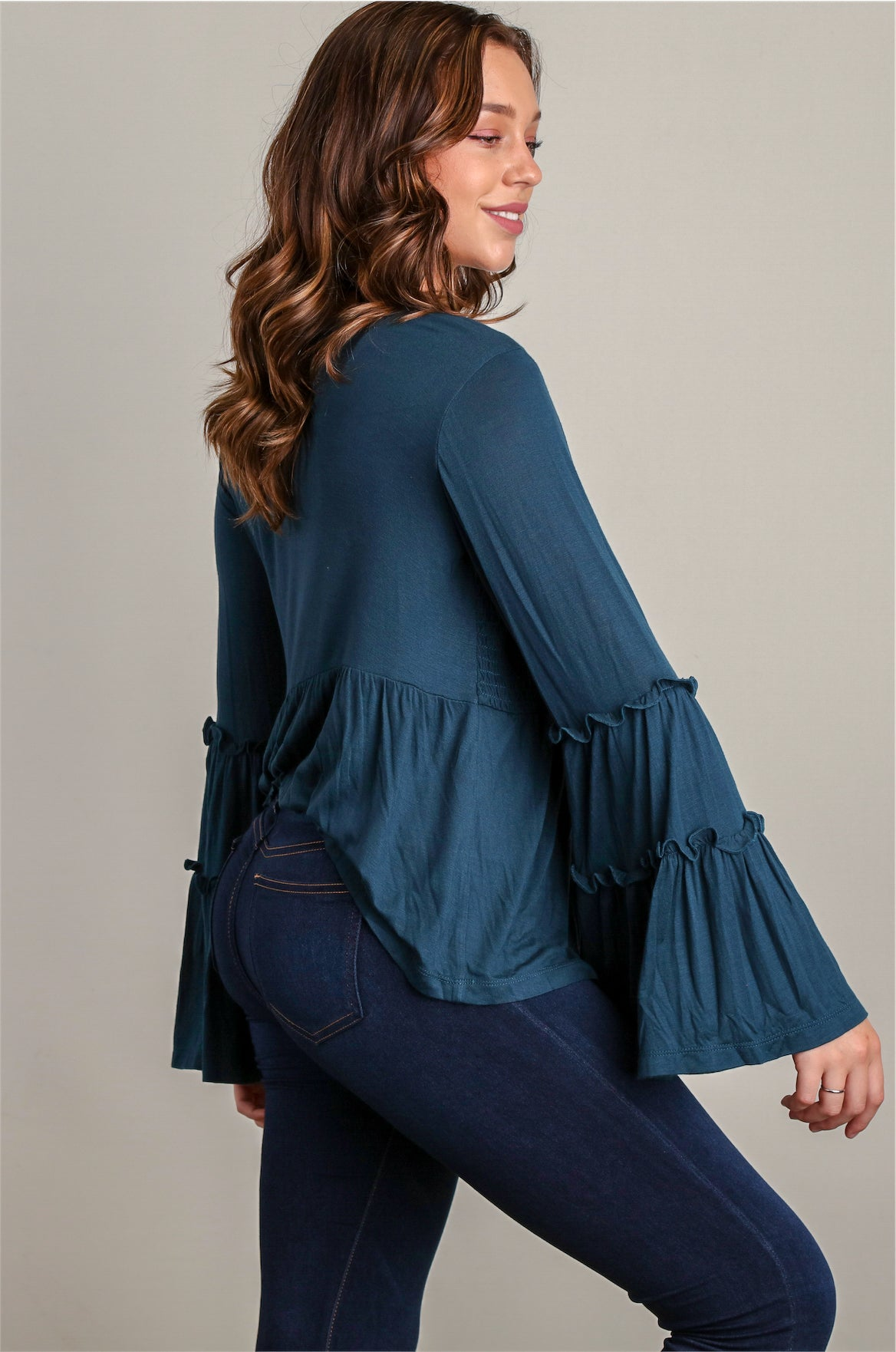 Denim Bell Sleeve Smocked Blouse