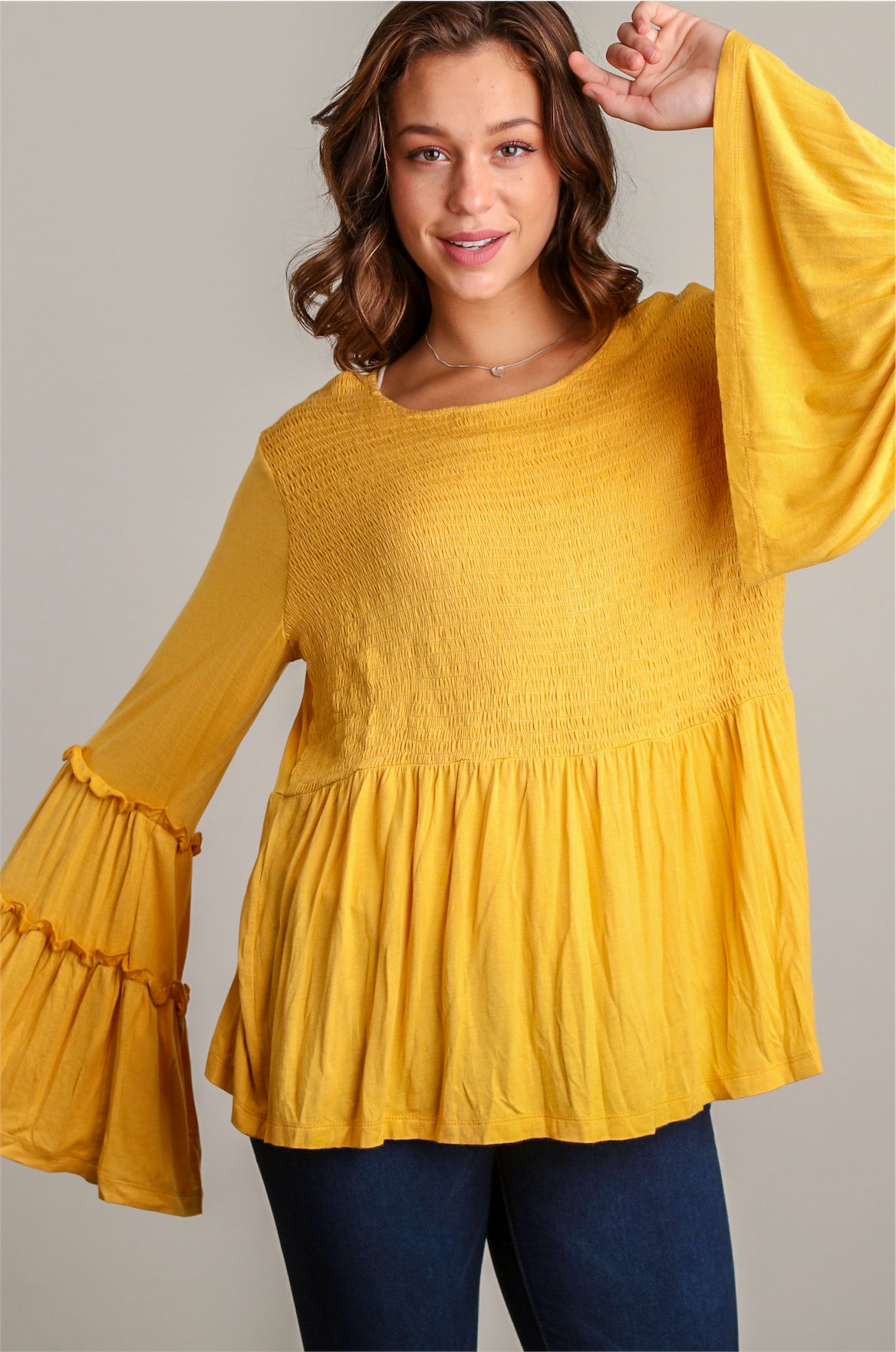 Mustard Bell Sleeve Smocked Blouse