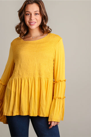 Plus Mustard Bell Sleeve Smocked Blouse