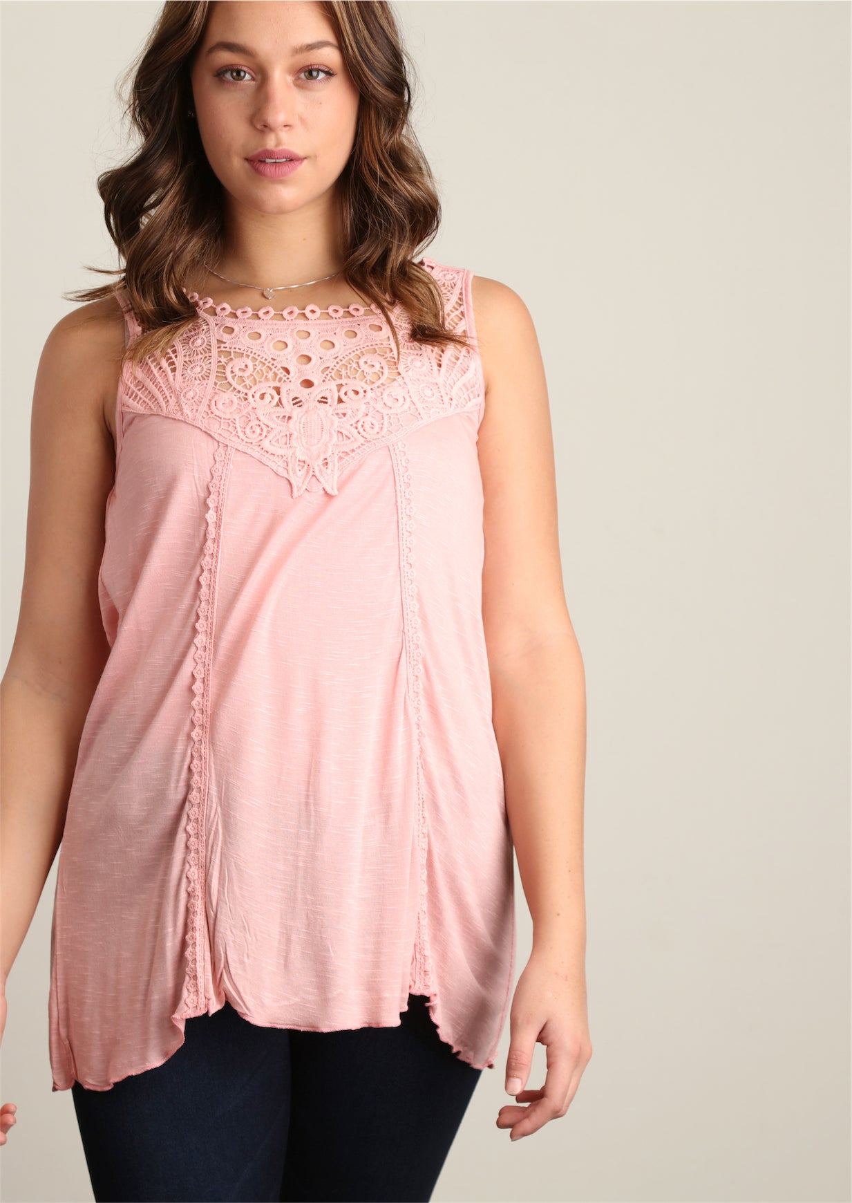 Blush Sharkbite Crochet Tunic