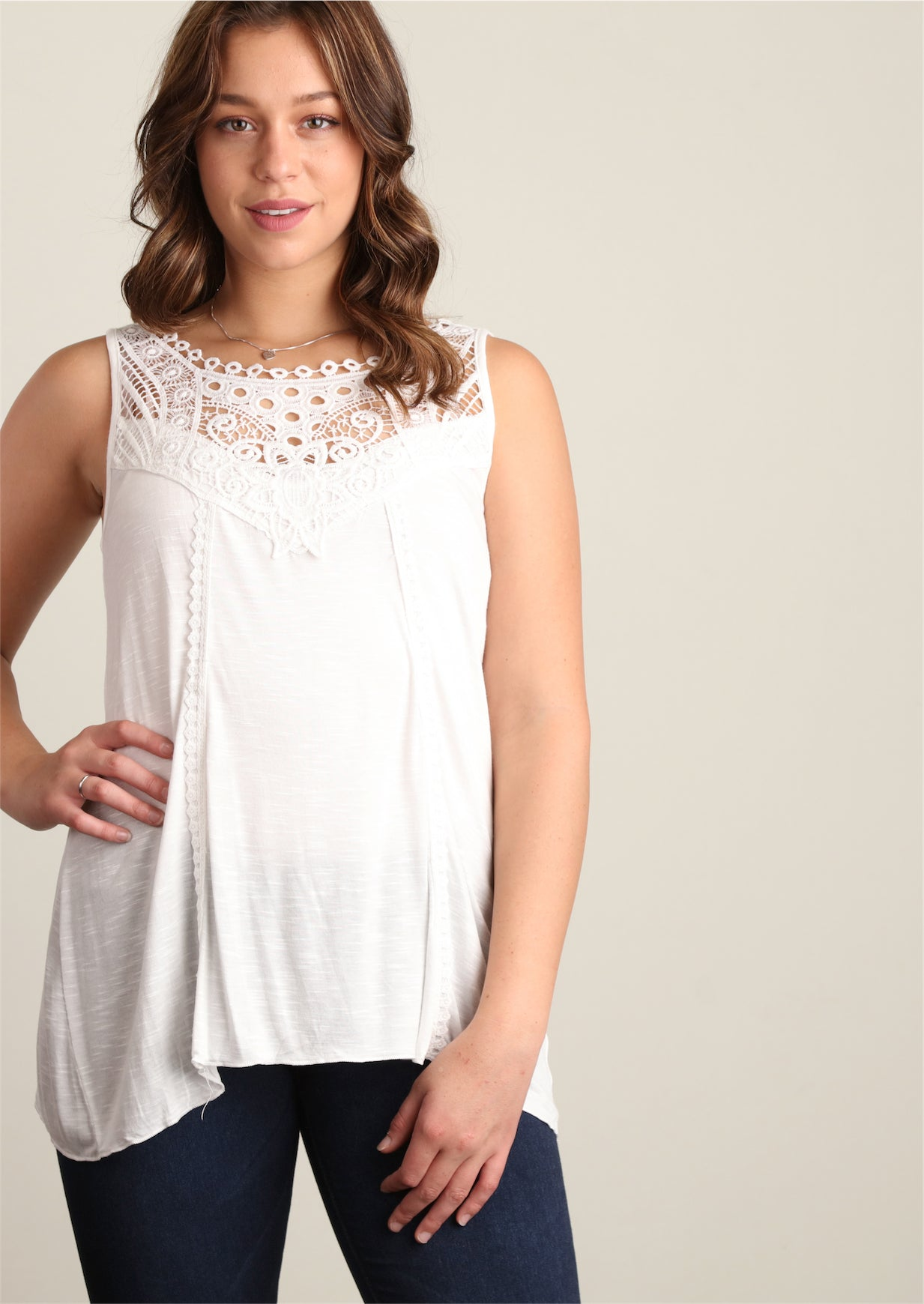 Plus Ivory Sharkbite Crochet Tunic