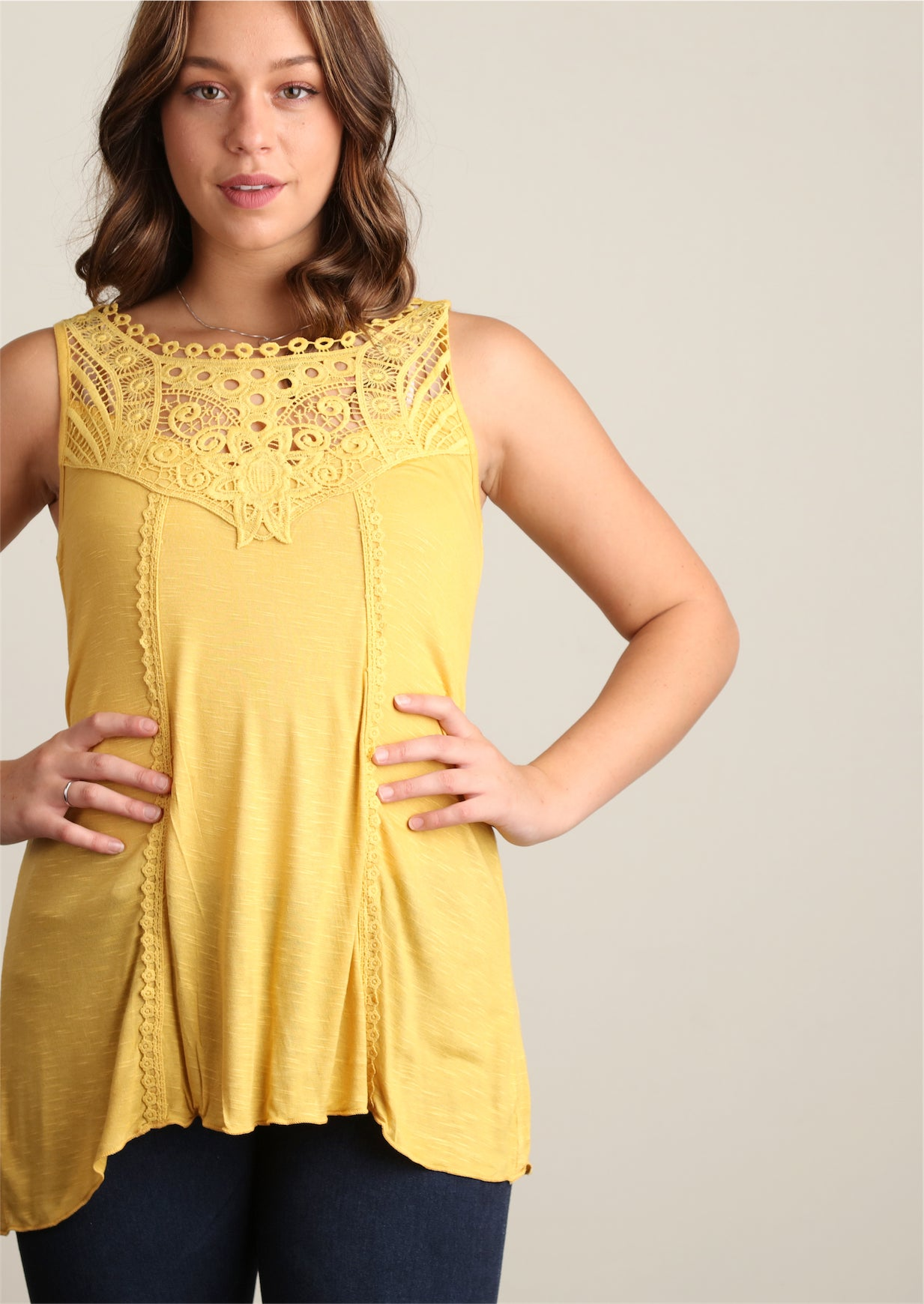 Plus Mustard Sharkbite Crochet Tunic
