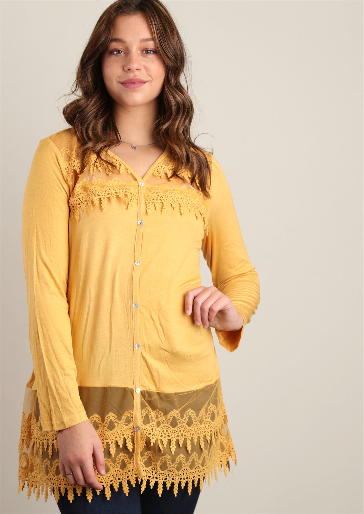Mustard Faux Button Front Crepe Crochet Tunic