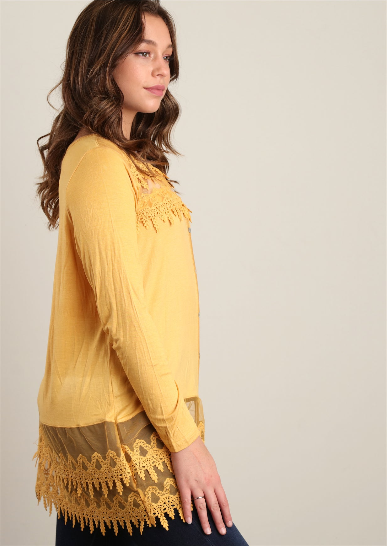 Plus Mustard Faux Button Front Crepe Crochet Tunic