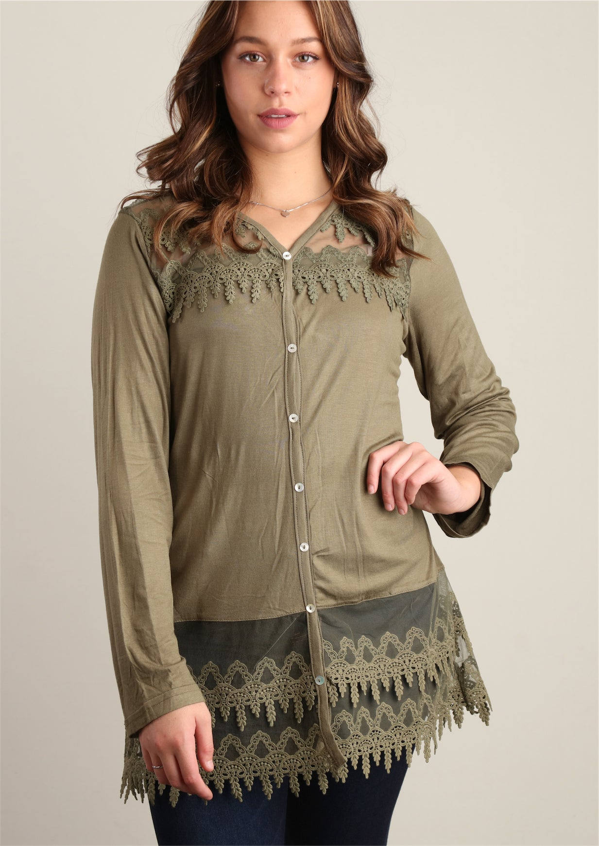 Olive Faux Button Front Crepe Crochet Tunic