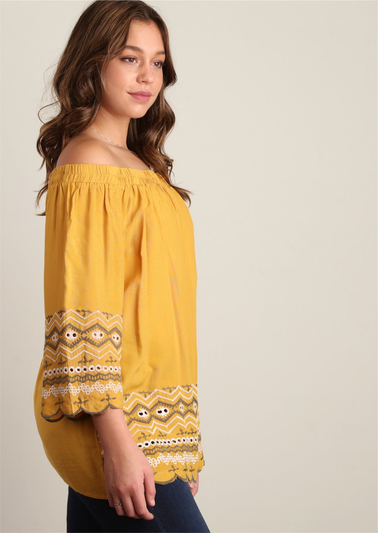 Mustard Embroidered Peasant