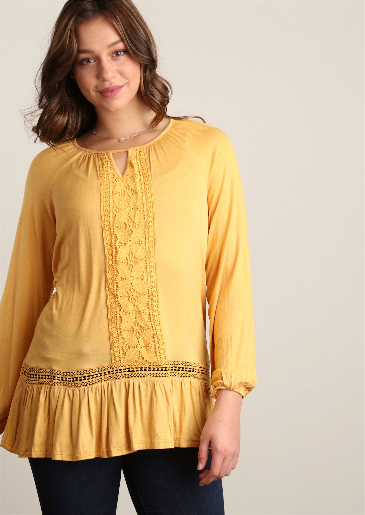 Mustard Crochet Trim Tunic