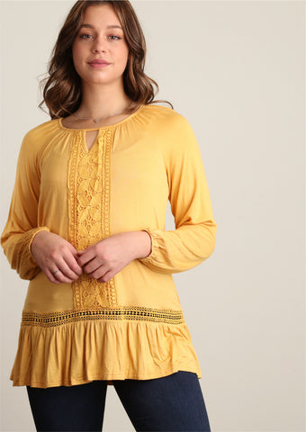 Plus Mustard Crochet Trim Tunic