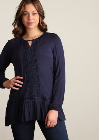 Plus Navy Crochet Trim Tunic