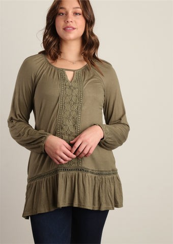 Olive Crochet Trim Tunic