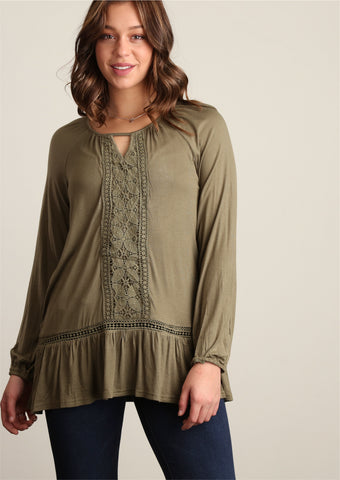 Plus Olive Crochet Trim Tunic