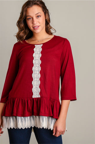 Plus Burgundy Light Sweater Knit w/ Crochet
