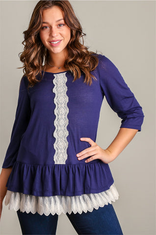 Plus Navy Light Sweater Knit w/ Crochet