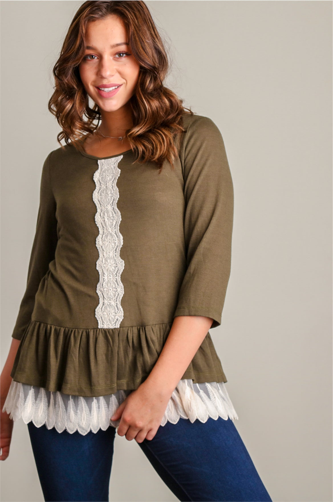 Olive Light Sweater Knit w/ Crochet