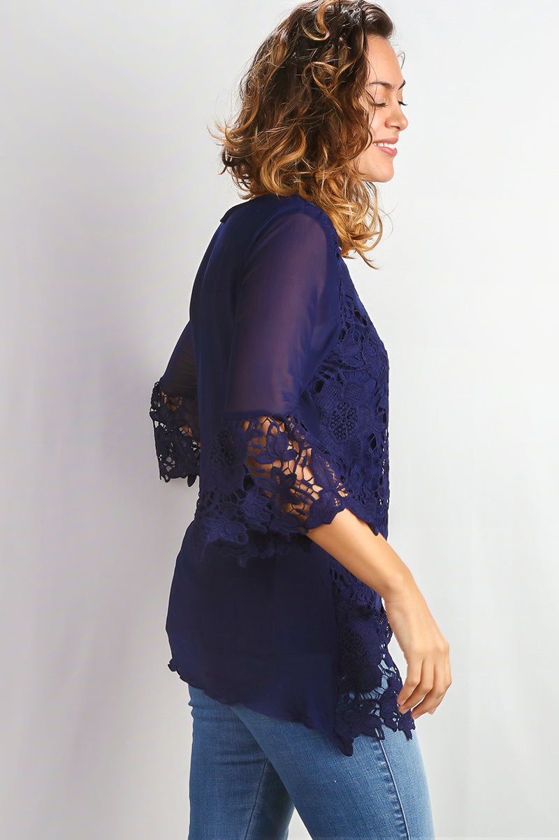 Plus Navy Crochet Bell Sleeve Tunic
