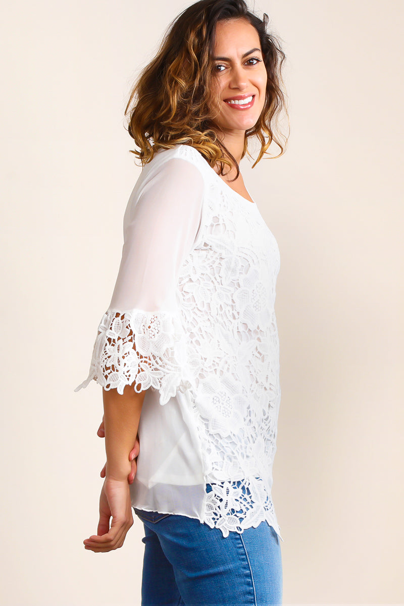 ST7340 White Crochet Bell Sleeve Tunic