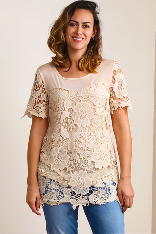 ST7342 Natural Illuision Lace Crochet Lined Tunic