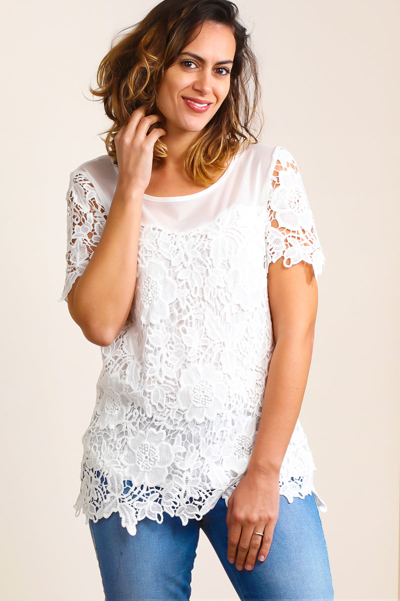 ST7342 White Illuision Lace Crochet Lined Tunic