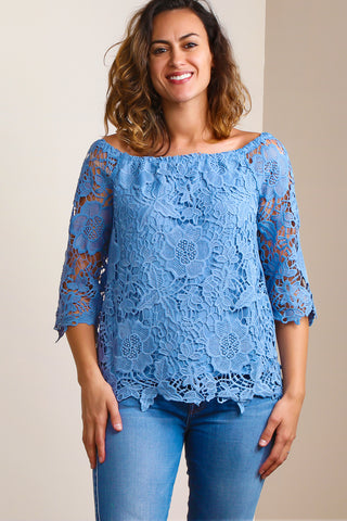 Denim Dressy Crochet Blouse