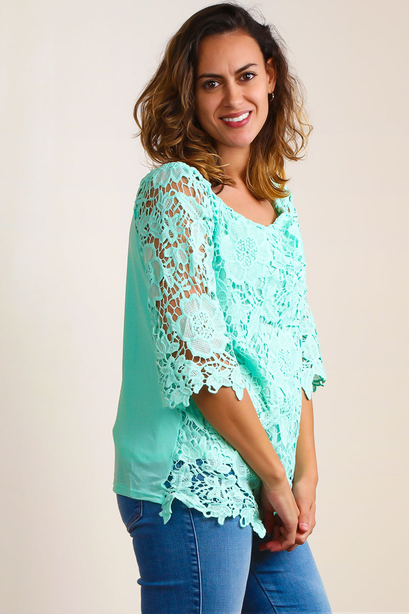 ST7466 Mint Off Shoulder Crochet Blouse