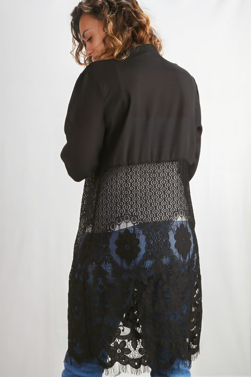 Plus Black Mesh Crochet Duster