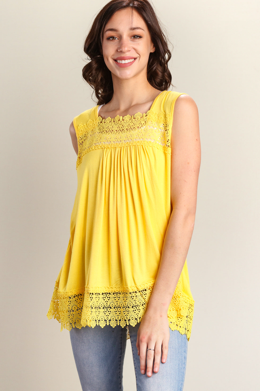 Yellow Crochet Trim Tunic Tank