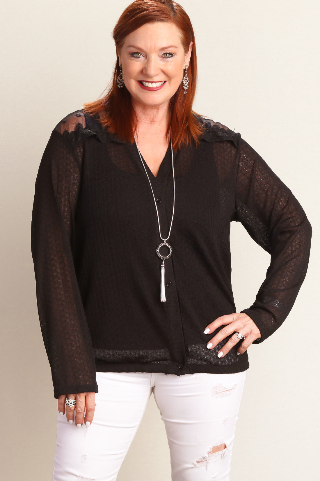 Plus Black Button Down Sweater Knit Blouse