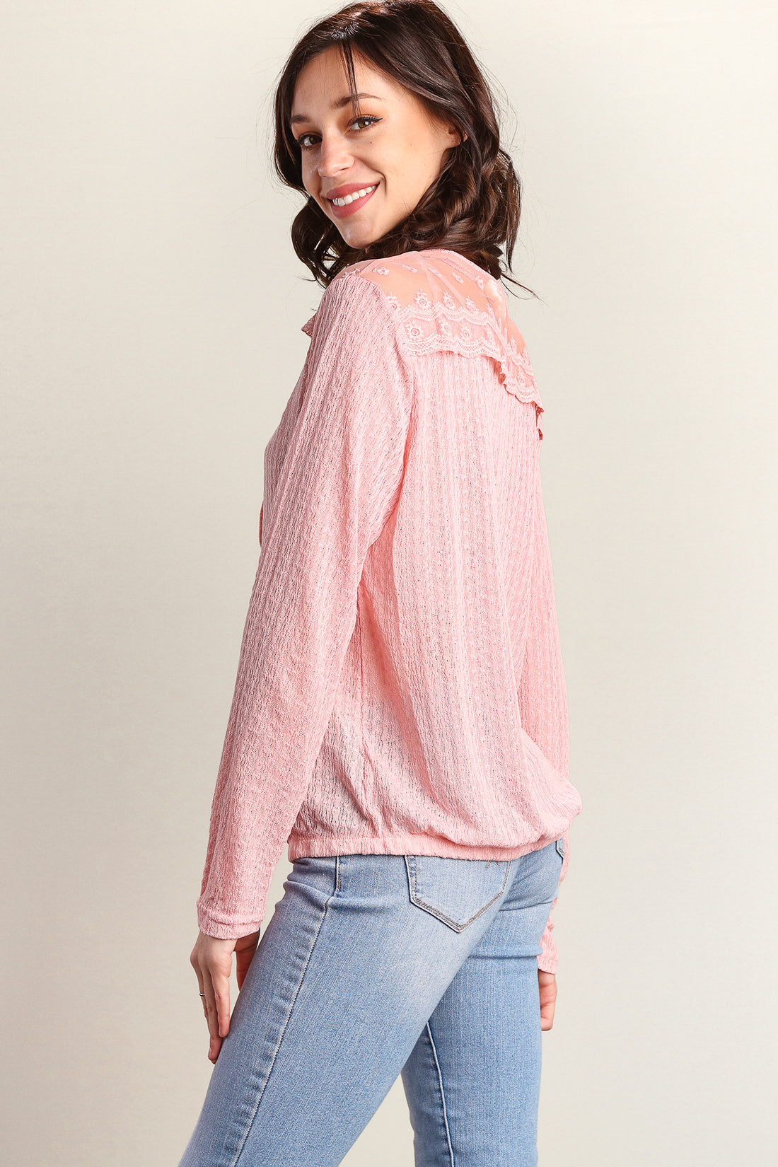 Blush Button Down Sweater Knit Blouse