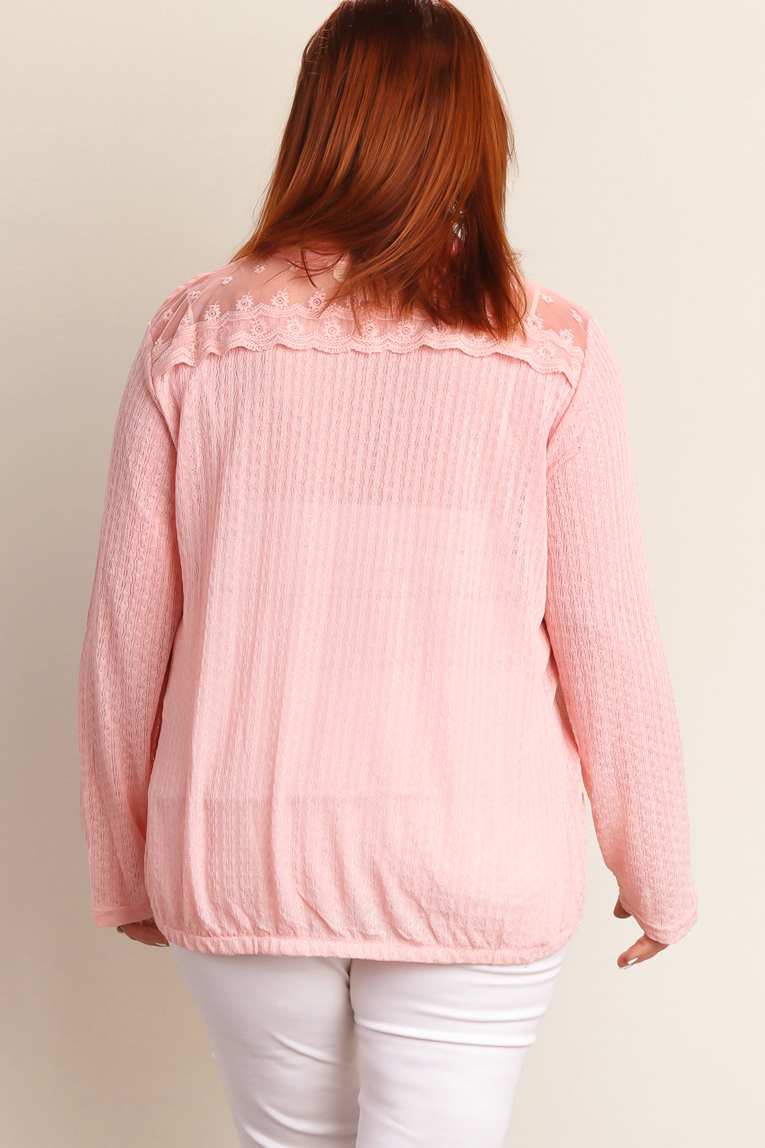 Plus Blush Button Down Sweater Knit Blouse