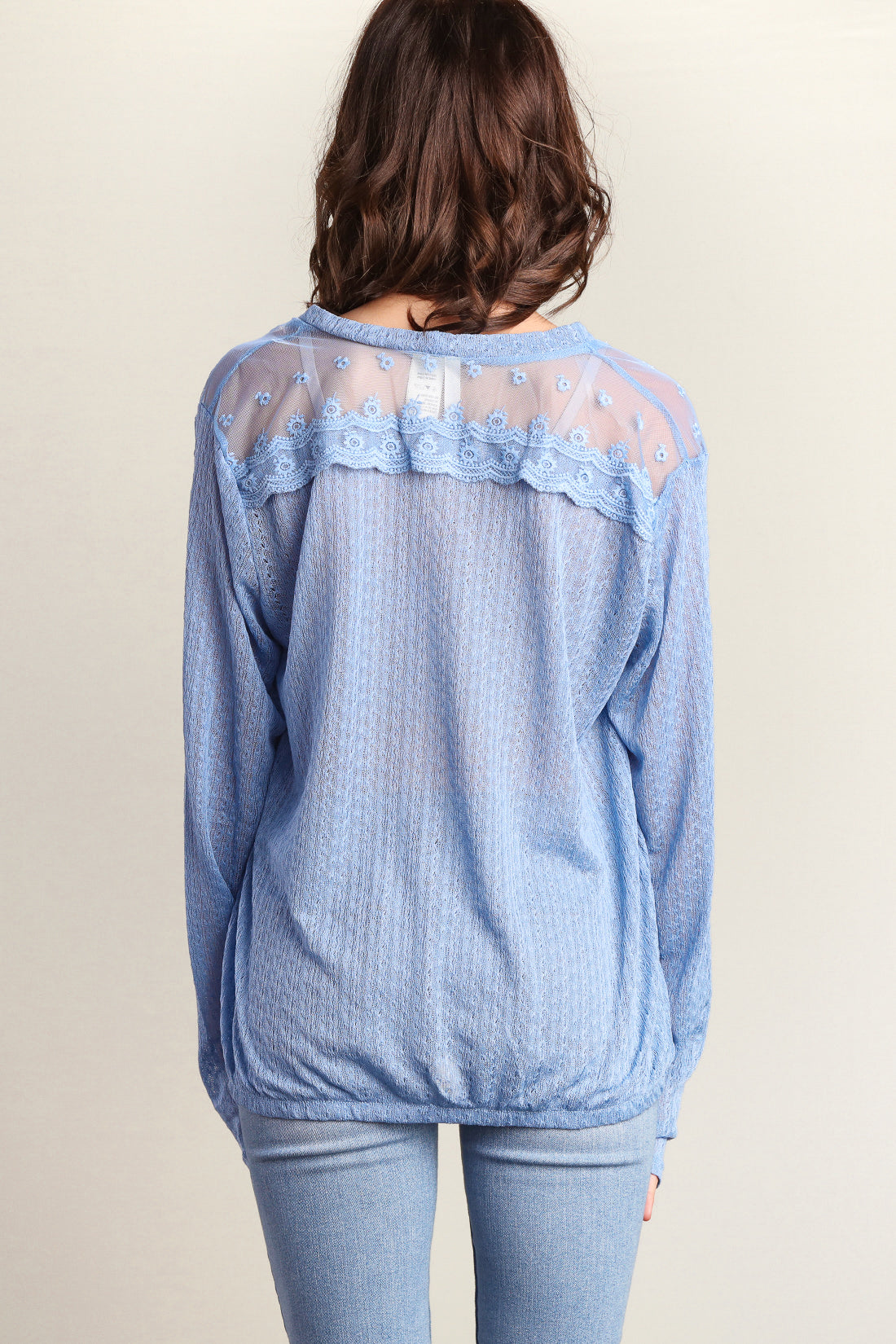Dusty Blue Button Down Sweater Knit Blouse