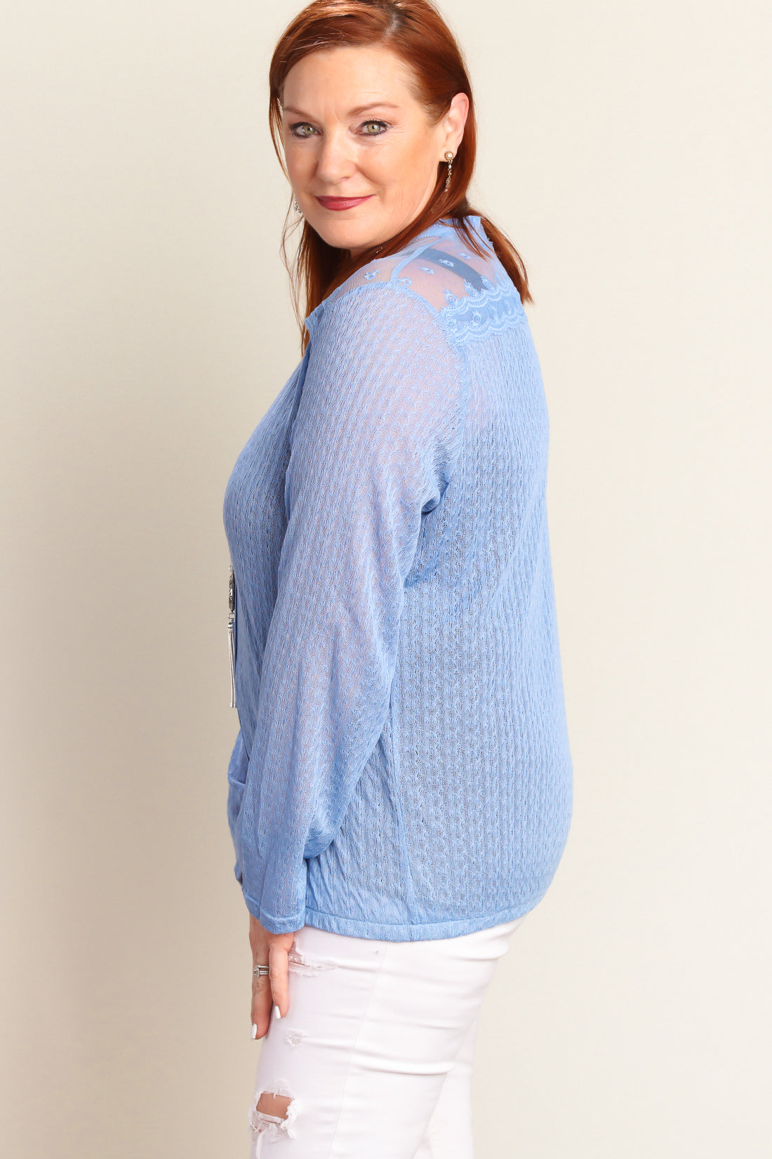 Plus Dusty Blue Button Down Sweater Knit Blouse