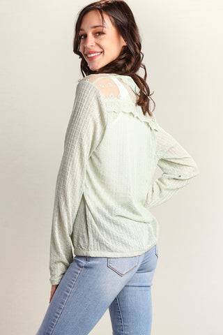 Sage Button Down Sweater Knit Blouse