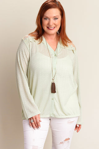Plus Sage Button Down Sweater Knit Blouse