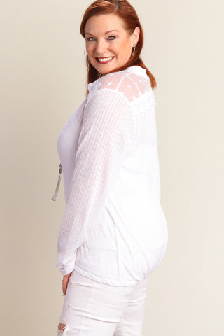 Plus White Button Down Sweater Knit Blouse