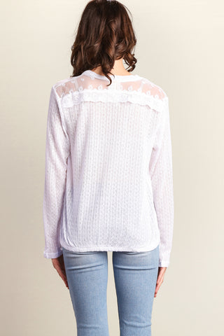 White Button Down Sweater Knit Blouse
