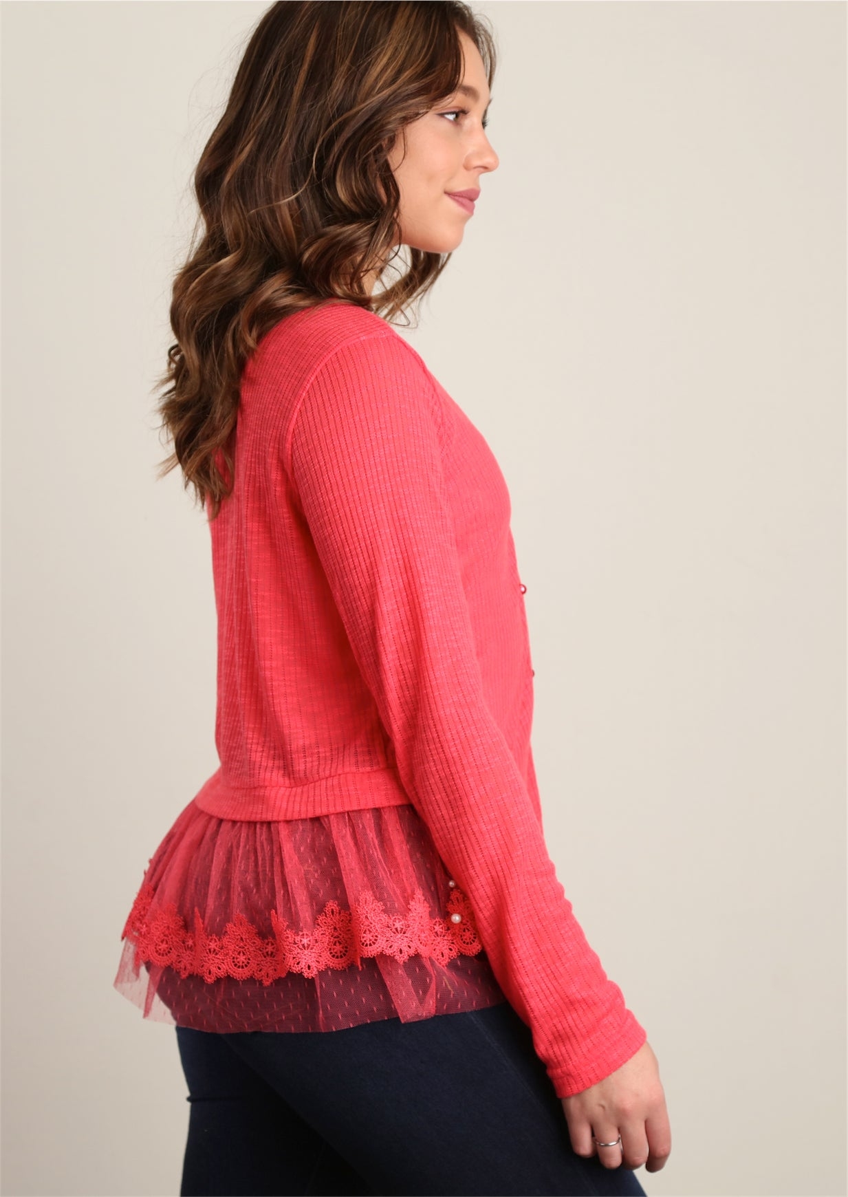 Coral Sweater Knit with Pearl Trim