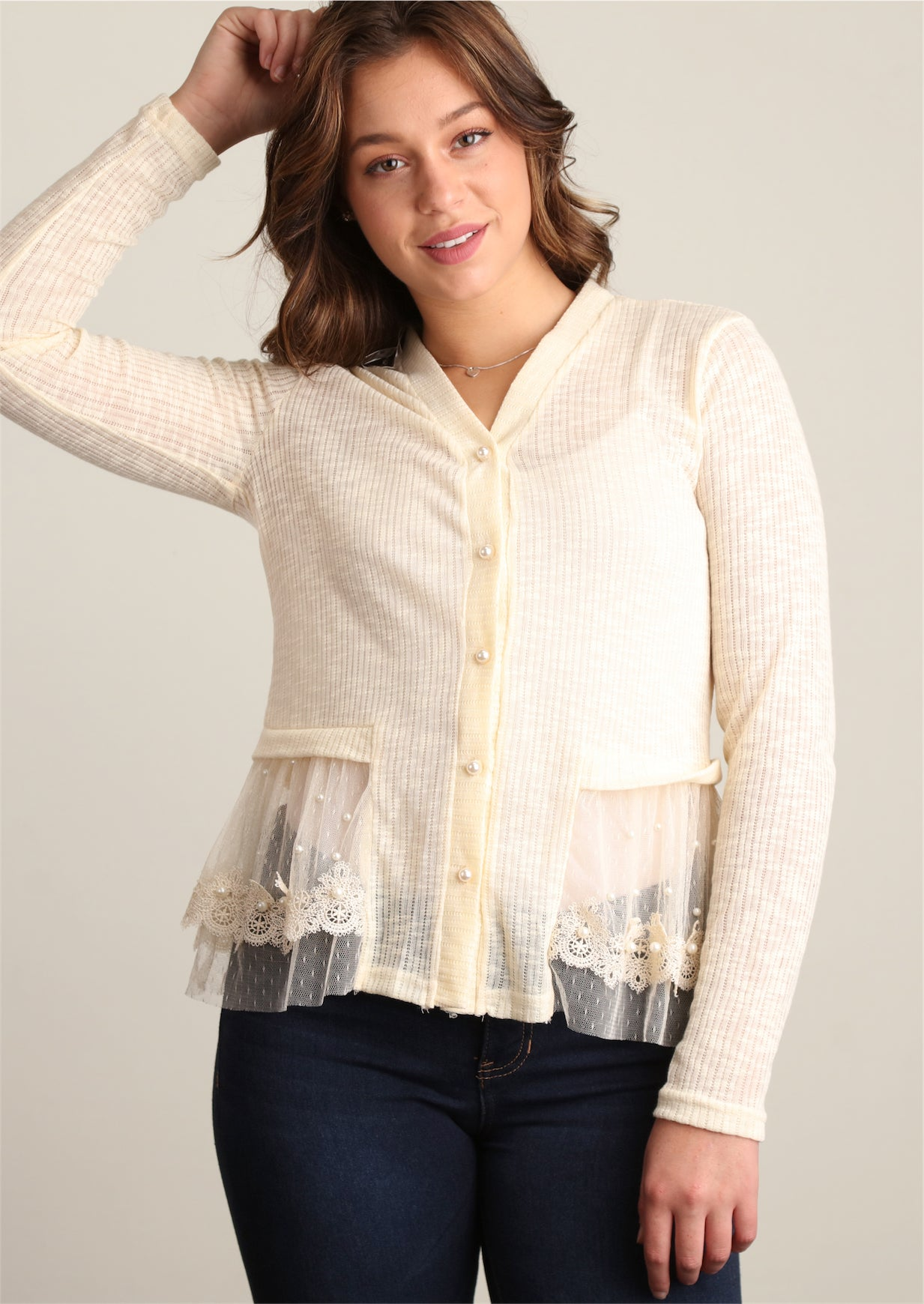 Natural Sweater Knit with Pearl Trim