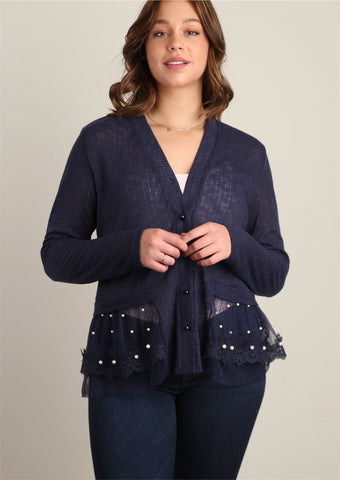 Navy Sweater Knit with Pearl Trim