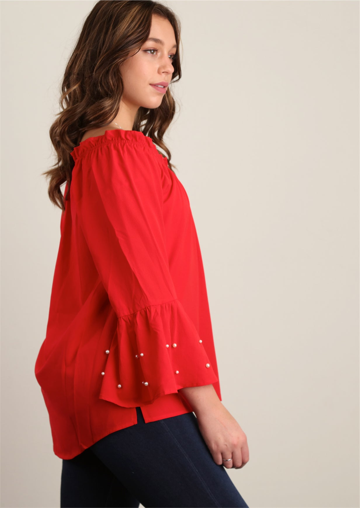 Red Dressy Peasant Blouse w/ Pearl Trim