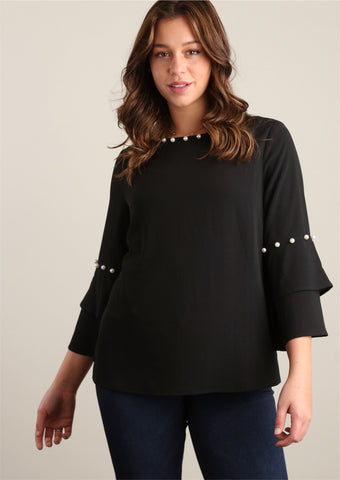 Plus Black Dressy Peasant Blouse w/ Pearl Trim