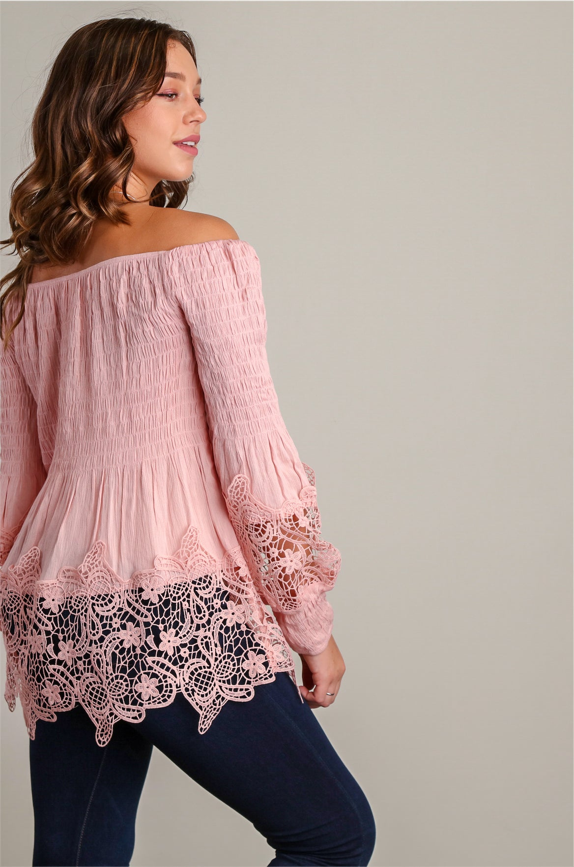 Blush Off Shoulder Crochet Blouse