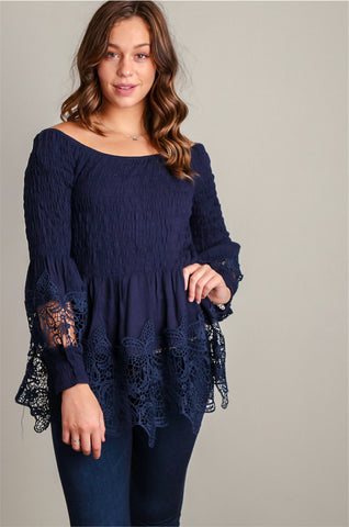 Navy Crochet Bell Sleeve Tunic
