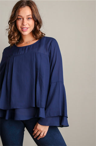 Plus Navy Dress Me Up Blouse